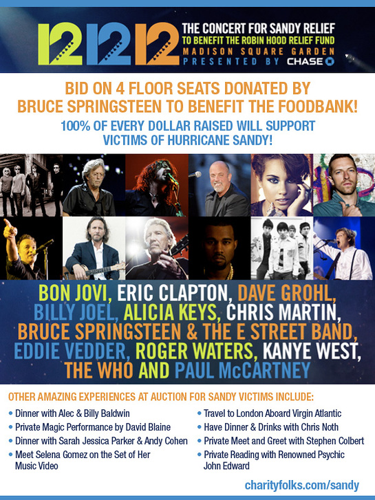 Bruce Springsteen Donates Floor Tickets To 12.12.12 Concert To Charity Auction