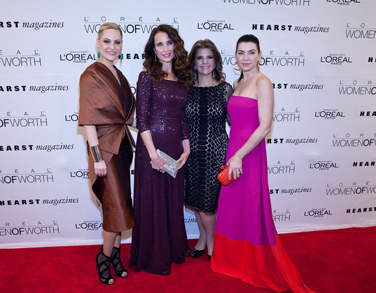 L'Oreal Paris brand ambassadors Aimee Mullins, Andie MacDowell and Julianna Margulies with L'Oreal Paris president, Karen Fondu, at the Women of Worth awards.