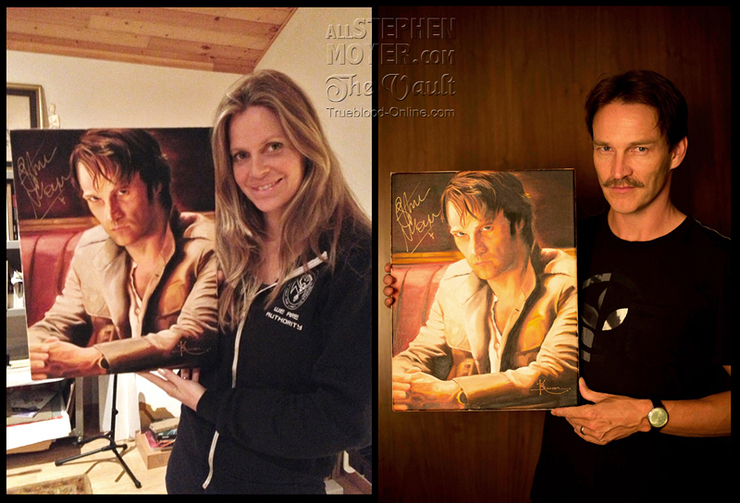 Kristin Bauer and Stephen Moyer with the painting