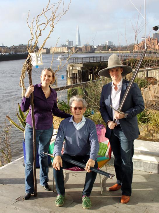Sir Ian McKellen with Step Forward CEO Jennifer Fear and Genesis Cinema Owner Tyrone Walker-Hebborn