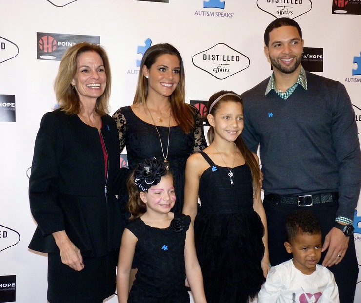 Deron and Amy Williams and Family with Autism Speaks President Liz Feld