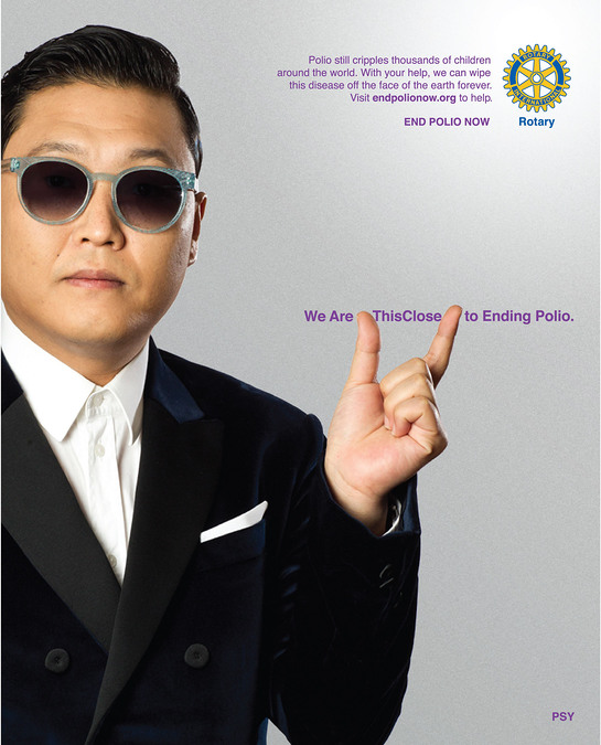Psy signs on as Rotary celebrity ambassador for polio eradication.