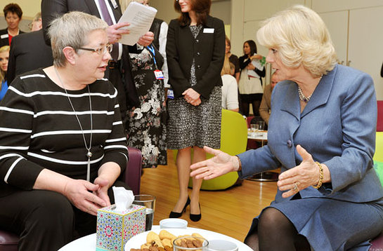 The Duchess of Cornwall talks with cancer patient Angela King