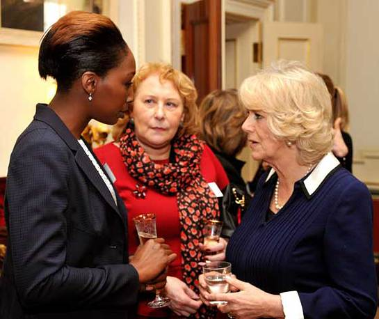 The Duchess of Cornwall (right) talks to guests during a reception in support of survivors of rape and sexual abuse at Clarence House