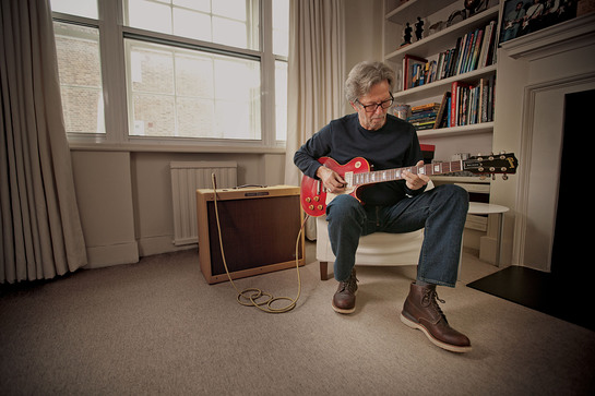 Eric Clapton playing Lucy at home in London, during an exclusive interview with Guitar Center.