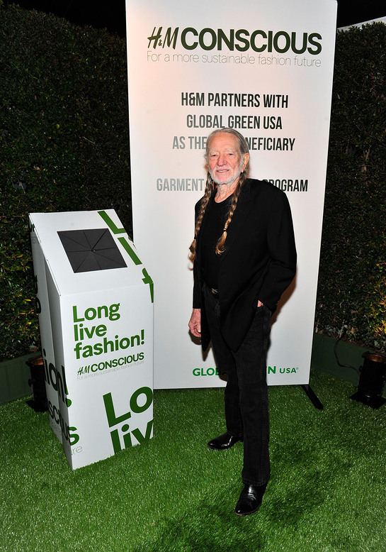 Willie Nelson celebrates the launch of H&M's garment recycling program at Global Green USA's 10th annual Pre-Oscar Party.