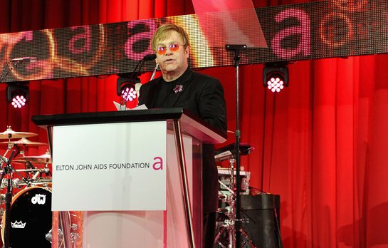 Sir Elton John speaks onstage during Chopard at 21st Annual Elton John AIDS Foundation Academy Awards Viewing Party