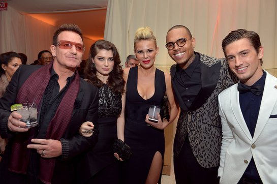 Bono, actress Eve Hewson, Chairman and Founder of Neuro Diana Jenkins and singers Chris Brown and Asher Monroe attend Neuro at 21st Annual Elton John AIDS Foundation Academy Awards Viewing Party