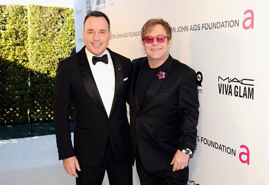 David Furnish and Sir Elton John attend Chopard at 21st Annual Elton John AIDS Foundation Academy Awards Viewing Party