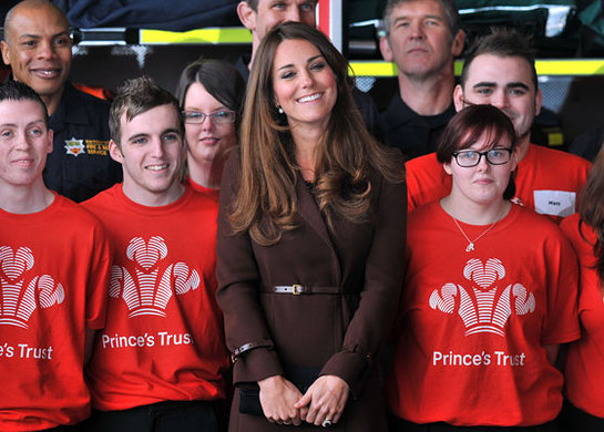 The Duchess of Cambridge meets young people helped by The Prince of Wales's charity, The Prince's Trust, during a visit to Grimsby