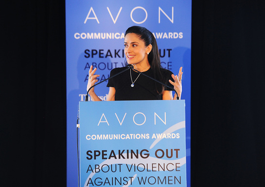 Salma Hayek Pinault at the United Nations where she presented the 2nd Avon Communications Awards honoring global leaders working to end violence against women.