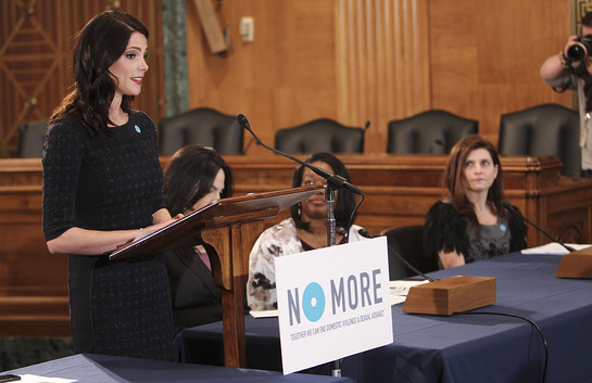 Ashley Greene speaks on Capitol Hill with mark. President Meg Lerner on NO MORE Day on March 13, 2013 in Washington, D.C.