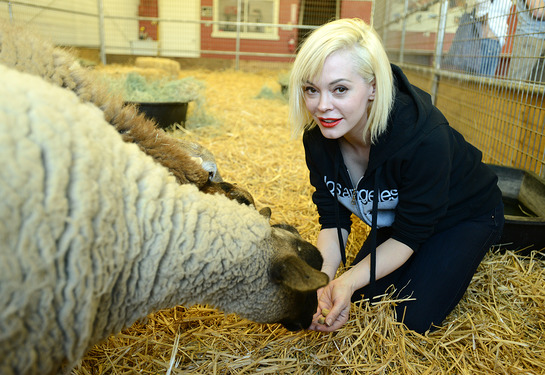Rose McGowan Meets A Friend At The Gentle Barn
