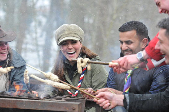 Duchess Of Cambridge Helps Cook At Scout Camp