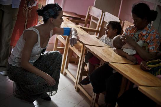 Perry's visit is intended to focus attention on the situation of children in the country – one of the poorest in the world.