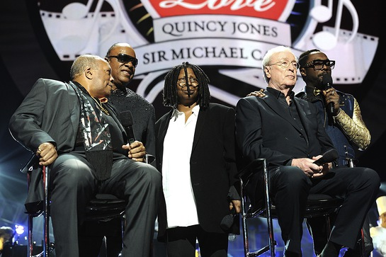 Quincy Jones, Stevie Wonder, Whoopi Goldberg, Sir Michael Caine and will.i.am at Keep Memory Alive's Power of Love Gala