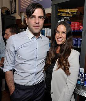 Alanis Morissette and Zachary Quinto at Kiehl's store in Santa Monica
