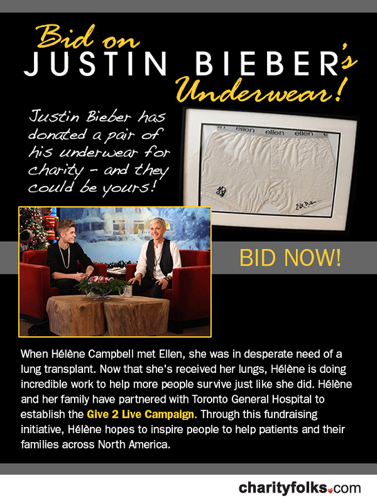 Bid On Justin Bieber's Underwear