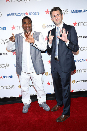 Tracy Morgan and Chris Marvin, Managing Director of Got Your 6 flashing their 6 at the Macy's American Icons launch event