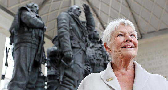 Dame Judi Dench visits the Bomber Command Memorial in London