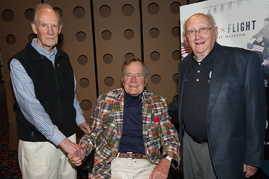 George H.W. Bush and Mrs. Barbara Bush hosted a screening of SnagFilms Honor Flight on Thursday, May 23rd. Photographed with President Bush are WWII Veterans Bob Paine and Joe Demler