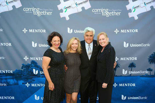 Cancer Center of Santa Barbara with Sansum Clinic Gala Co-Chairs Christy Kolva, Tracie Fiss and Julie Nadel with Jay Leno
