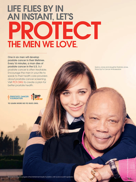 Quincy and Rashida Jones in the new PSA with The Prostate Cancer Foundation and Stand Up To Cancer