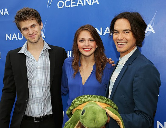 Keegan Allen, Aimee Teegarden and Tyler Blackburn celebrates World Oceans Day at Nautica's Oceana Beach House