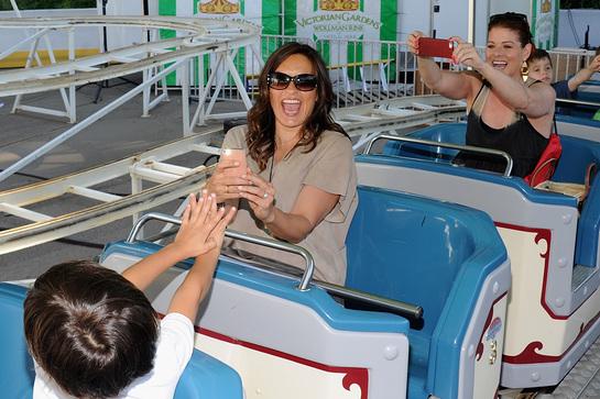 Mariska Hargitay and Debra Messing enjoy the rollercoaster at Babby Buggy bash