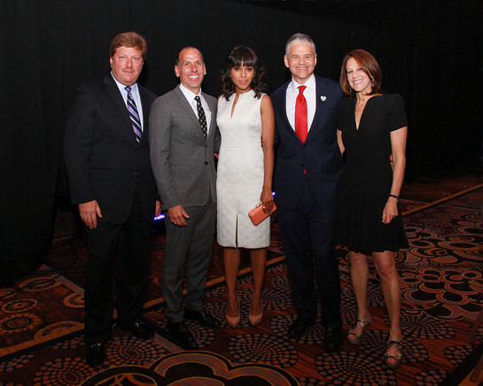 From left to right: Alan Chinich, President, Movado; Peter Engel, Board Chairman, Jewelers for Children; Kerry Washington; Efraim Grinberg, Chairman & CEO, Movado Group, Inc.; Ellen Grinberg.