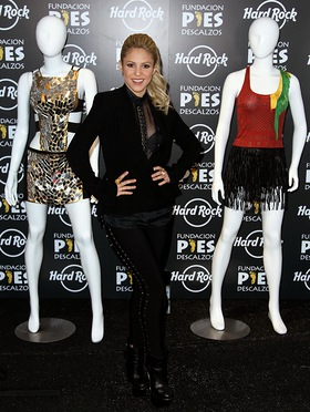 Shakira donates her gold stage outfit from the 2009 MTV Europe Music Awards and festive tank top and skirt combo worn in her 2010 Waka Waka music video, to Hard Rock's world famous memorabilia collection