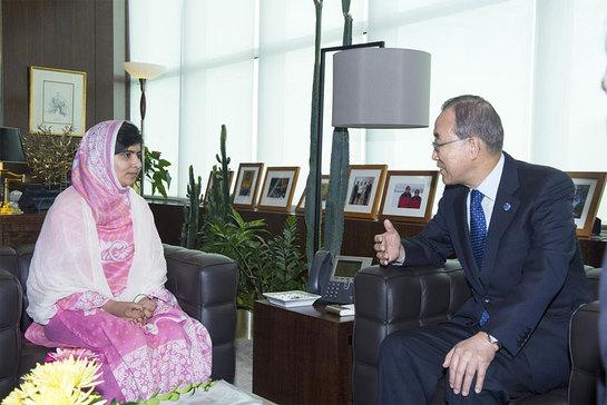Secretary-General Ban Ki-moon with Malala Yousafzai, the young education rights campaigner from Pakistan