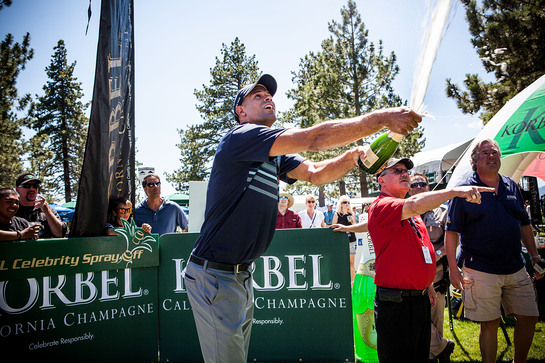 Miami Heat forward and recent NBA Finals Champion Shane Battier pops the cork to win the seventh annual Korbel Celebrity Spray-Off