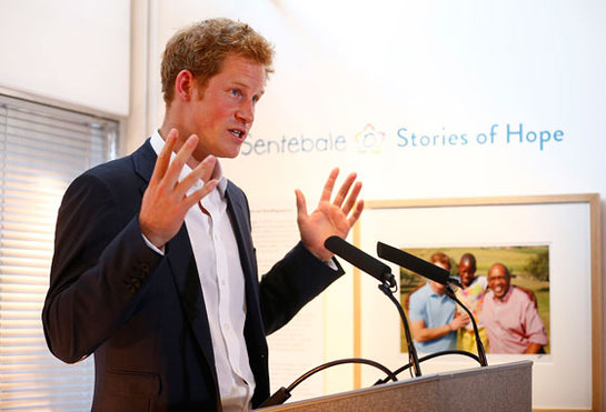 Prince Harry speaks at the private view of the Sentebale - Stories of Hope exhibition of photographs in London