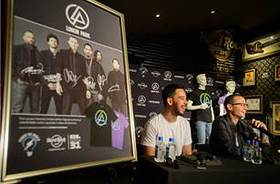Mike Shinoda and Chester Bennington of Linkin Park discuss their partnership with Hard Rock International for the Signature Series: Edition 31 T-Shirt