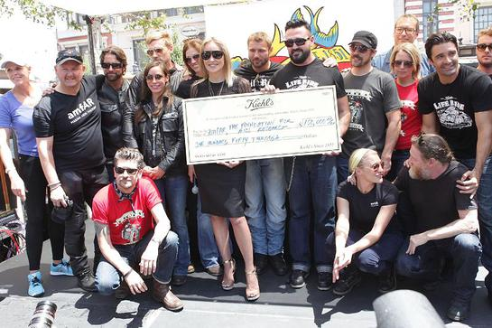 Sharon Stone joins Kiehl's President, Chris Salgardo, amfAR CEO, Kevin Frost and LifeRiders John Corbett, Gilles Marini, Kurt Yaeger, Ben Cohen, Katee Sackhoff, Tricia Helfer and more to accept a $150,000 donation to amfAR
