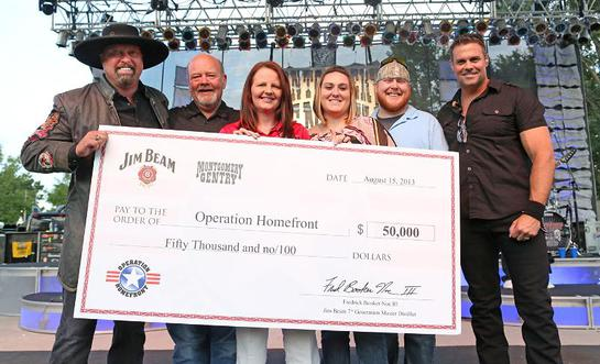 Montgomery Gentry teamed up with Beam Inc. at the band's Indianapolis show August 15 to present a $50,000 check to Operation Homefront