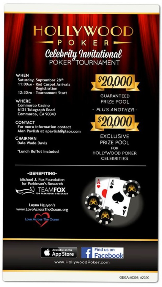 Play alongside celebrities and poker pros at the Hollywood Poker Celebrity Invitational