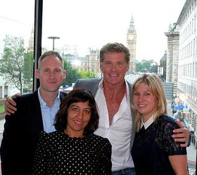 David Hasselhoff meets the I CAN charity team.
