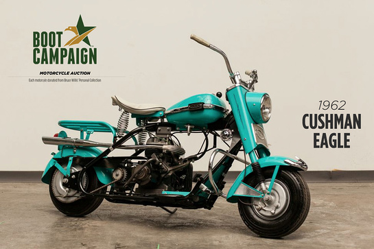 Bid now to bring home this amazing Cushman motorcycle from Bruce Willis' personal collection!