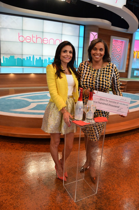 Bethenny Frankel and Skinnygirl® Cocktails present a $100,000 check to Joi Gordon, CEO of Dress for Success Worldwide, on the set of the original Skinnygirl's new daytime talk show,