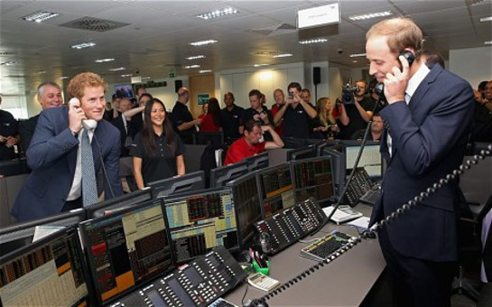 Prince William and Prince Harry Trading for Charity at the 2013 BGC's Charity Day