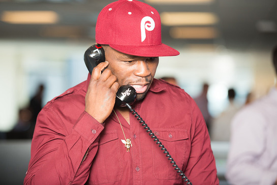 Musician Curtis ''50 Cent'' Jackson makes trades for charity at BGC Partners' Charity Day 2013 in New York, hosted annually by BGC Partners and Cantor Fitzgerald