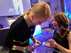 Nicole Kidman greets a young activist and fan following the awards ceremony