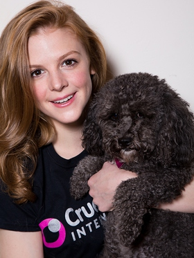 Ashley Bell is photographed with her dog for Cruelty Free International