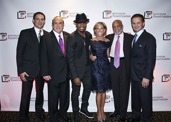 Michael Reinert, Clive J. Davis, NE-YO, Kathy Giusti, Berry Gordy and Charles Goldstuck celebrate at the 2013 Multiple Myeloma Research Foundation (MMRF) Fall Gala.