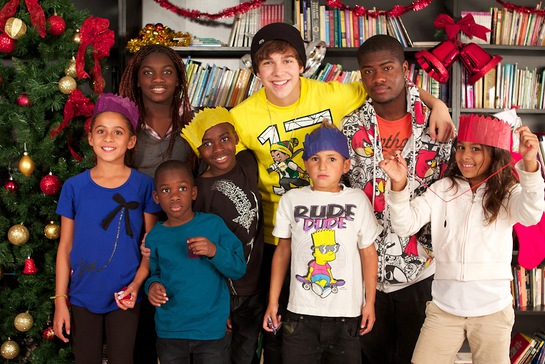 Austin Mahone hanging out with kids from The Salvation Army Miami Shelter