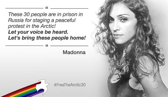 Madonna's message of support for the Arctic 30