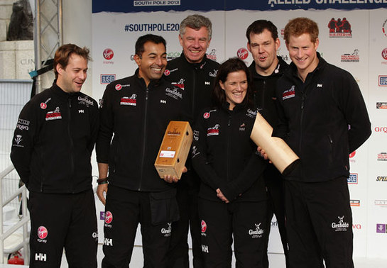 Prince Harry poses with Team UK during the Walking with the Wounded South Pole Allied Challenge departure in Trafalgar Square, London