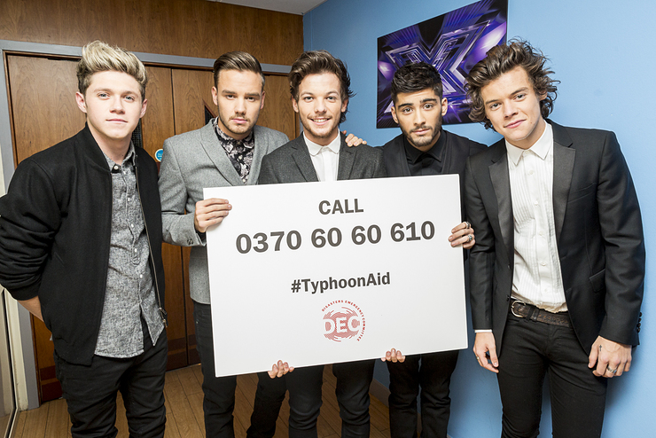 One Direction show their support for the DEC Telethon which will raise vital funds for the Philippines Typhoon Appeal